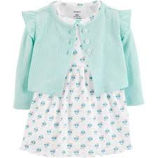 Carters Baby Girls <b>Floral Ruffle</b> Bodysuit Dress Cardigan Set | Bealls ...