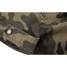 Springrain <b>Mens Casual</b> Slim Stand Collar <b>Tooling Camouflage</b> ...