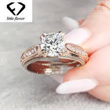 <b>14K Rose Gold</b> Flash Diamond Princess Ring Engagement <b>Anillo</b> ...