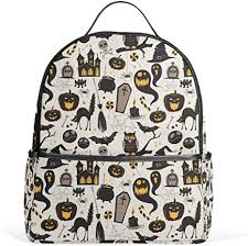 Fashion School Backpacks <b>Vintage Halloween</b> Owl Bat <b>Tomb</b> Cat ...