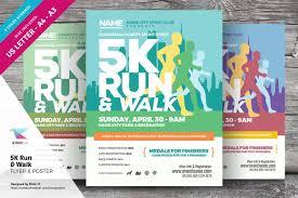 k run walk flyer and poster flyer templates on creative market