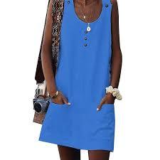 Women <b>Casual</b> Mini Dress Boho Sleeveless <b>Scoop Neck</b> Party ...