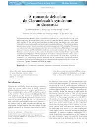 (PDF) A <b>romantic</b> delusion: de Clerambault's syndrome in dementia