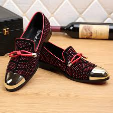 New Gold Pointed Toe <b>Crystal Handmade Men Loafers</b> Fashion ...