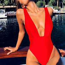 Simplee Sexy red one piece <b>women</b> bodysuit <b>Push up V</b> neck ...