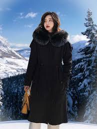 Long <b>black</b> parka with <b>real fox fur</b> hood - Alen Cooper