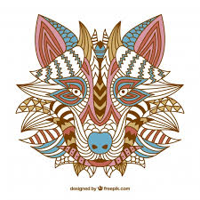 Free Vector | <b>Ethnic</b> decorative <b>wolf</b> background