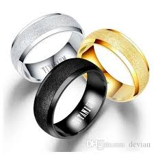 <b>BOAKO</b> Men Titanium Steel Ring Frost Surface Black <b>Gold Silver</b> ...