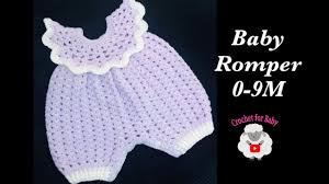 How to Crochet <b>newborn baby girl romper</b> with snap buttons 0-3 ...