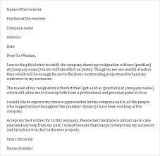sample job resignation letter template     free documents in word    job resignation letter to company