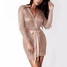 <b>Women Sexy Dress</b> Knitted Sweater <b>Dress</b> Silver <b>Gold Club</b> Party ...