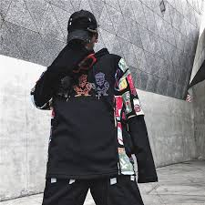 Dark Icon Side Pocket <b>Graffiti Hoodie Men</b> 2019 Patchwork ...