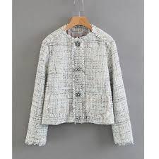 Elegant <b>women chic women plaid</b> notched collar <b>tweed</b> blazer ...