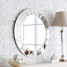 mirror wall decor circle panel: home decoration fancy decorative round wall mirrors with modern desk lamp and brick wall decor