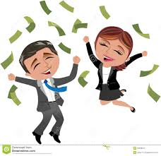 successful business w and man under money rain stock images successful business w and man under money rain