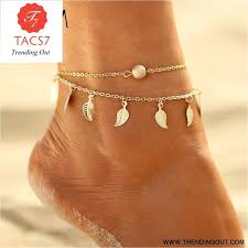 Summer Beach 2 Color <b>Double</b> Leaves Pendant Anklet Foot <b>Chain</b> ...