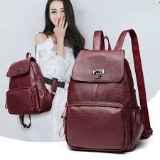 Leather <b>Backpack Women</b> Fashion Female <b>Backpack</b> String Bags ...
