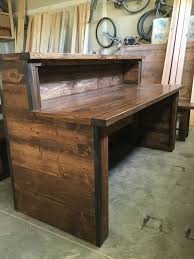 officerustic industrial reception desk with two tiers build rustic office desk