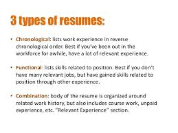 Creating Resumes and Cover Letters SlideShare      types of resumes      Chronological  lists work experience in reverse chronological order