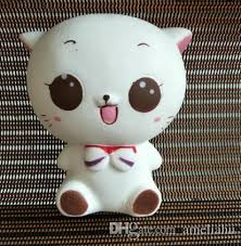 10cm <b>Kawaii</b> Squishy White Cat Simulation Animal Slow Rising Toy ...