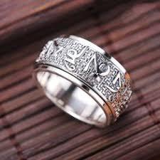 Nepal <b>925 Sterling Silver</b> Turquoise Ring Om Mani Padme Hum ...