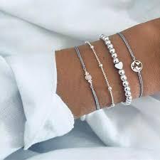 <b>4Pcs</b> Fashion Women Trend <b>Personality</b> Map <b>Heart</b> Rope Beads ...