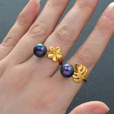 Anniyo Hawaiian Ring Black <b>Pearl</b> Ring Frangipan Flower Monstera ...