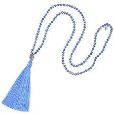 KELITCH <b>Bohemian Crystal</b> Beaded Necklace <b>Long</b> Chain Buddha ...