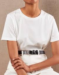Crocodile-embossed leather <b>belt</b> with <b>square buckle</b> — 12Storeez