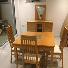 table chairs beech solid beech dining table x  chairs sideboard and mirror