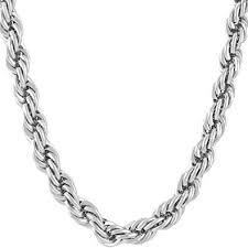 Best Rope Chain <b>7MM</b> Fashion Jewelry Necklaces, <b>Pure</b> Rhodium ...