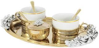 Чайный <b>набор</b> на <b>2</b> персоны (поднос, <b>2 чашки</b>, <b>2</b> ложки ...