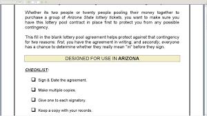 lottery pool contract info arizona lottery pool agreement
