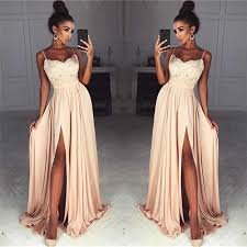 Straps Front Slit Sexy <b>Prom Dress</b> Lace Cheap <b>Champagne</b> Long ...