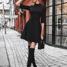 Classic Black Slim Mini Dresses 2018 Autumn <b>Women Half Sleeve</b> ...
