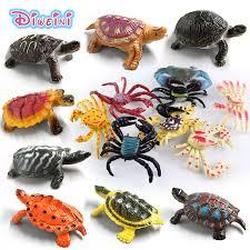 Kawaii Simulation animals statue Sea Turtle Crab model Figurine ...