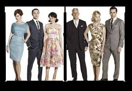 from left to right roger sterling played by john slattery don draper jon hamm and betty art roger sterling office