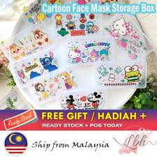 [LBH] Cartoon Transparent <b>Face Mask Storage Box</b> Mask Keeper ...