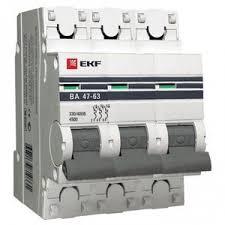 Автомат 3P 20А PROxima ВА 47-<b>63</b> 4.5 кА, C <b>EKF</b> mcb4763-<b>3</b>-20C ...
