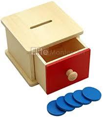 Elite <b>Montessori Infant</b> Coin Box <b>Preschool</b> Learning <b>Material</b>