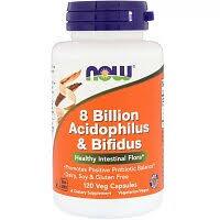 «Пробиотик Now Foods 8 Billion <b>Acidophilus</b> &amp; Bifidus,120 ...