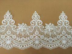 Delicate Ivory French Alencon <b>Lace</b> Trim, Fine Scallop Floral ...