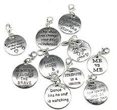 10PCS 10 Words Antique Silver Clip-on Charms ... - Amazon.com