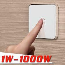 <b>Jiubei</b> , 2 Gang 1 Way, <b>Wall</b> Touch Switch, White Crystal Glass ...