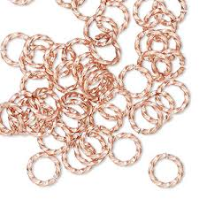 Jump ring, <b>copper</b>, <b>8mm</b> hand-cut twisted round, 5.4mm <b>inside</b> ...