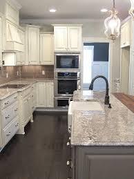 white glazed cabinets minka lighting bianco antico granite subway tile backsplash gray cabinet lighting backsplash home