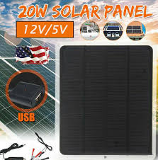 USA <b>20W Solar Panel 12V</b> 5V Battery Charger For RV Boat Car ...