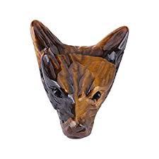 AiCheaX <b>Wolf</b> Head Shaped Pendant, 4cm <b>Natural Tigers</b> Eye ...