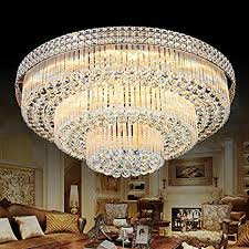 KALRI <b>Modern</b> K9 Crystal <b>Chandelier</b> Flush Mount LED <b>Ceiling Light</b>