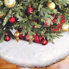 Aytai Christmas Tree Skirt 48 Inch White Faux Fur ... - Amazon.com